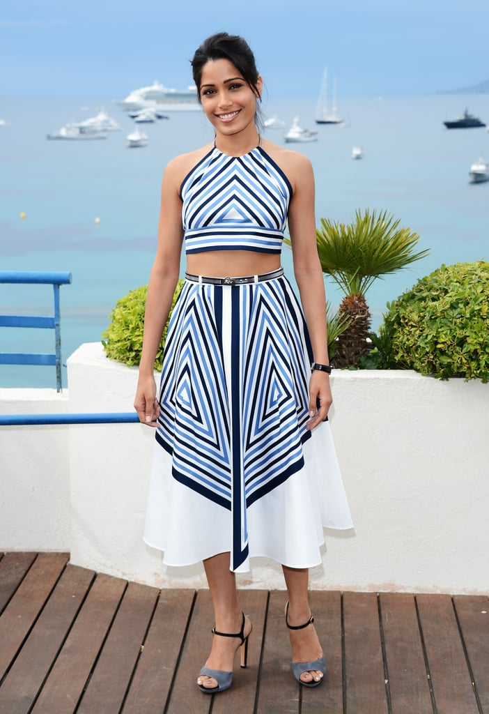 Making a serious case for crop tops, Freida Pinto showed off her Salvatore Ferragamo version to perfection.