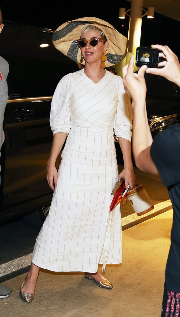 Katy Perry White Striped Dress in Italy