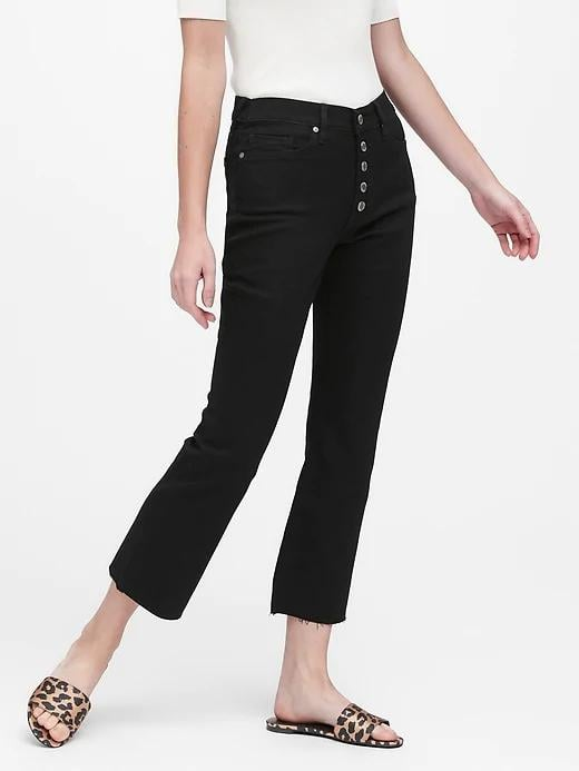 Mid-Rise Crop Flare Jeans