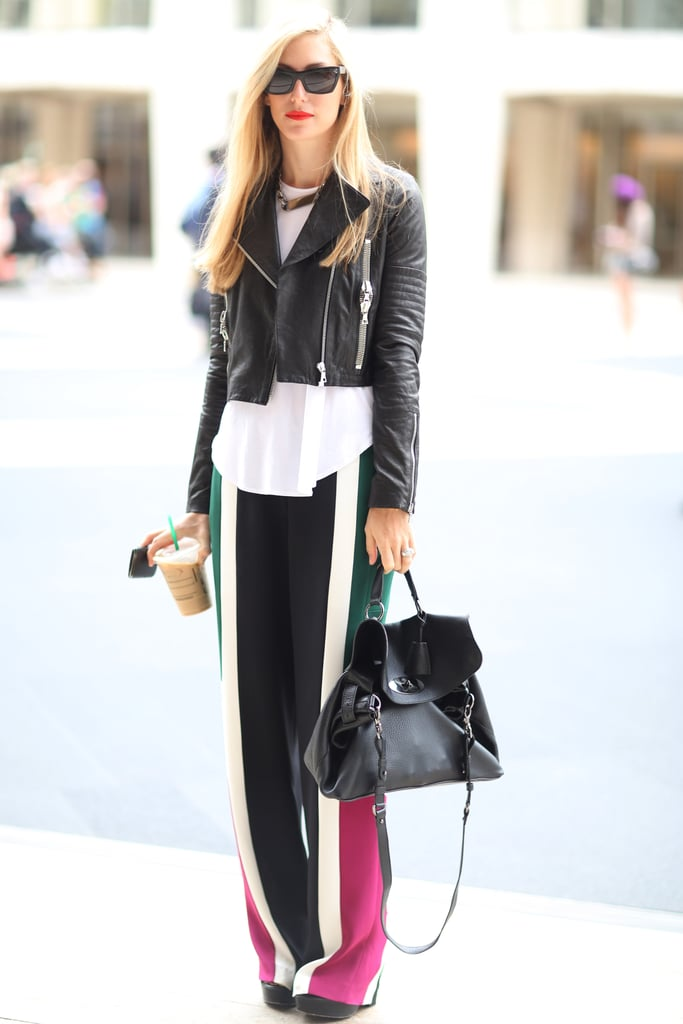 Joanna Hillman toughened up a pair of breezy colorblock pants with a leather jacket. Source: Greg Kessler