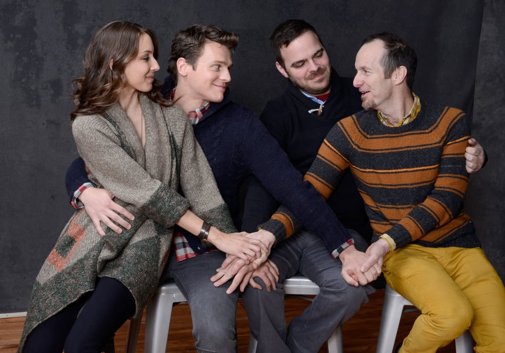 Troian Bellisario, Jonathan Groff, director Kyle Patrick Alvarez, and Denis O'Hare couldn't let go of one another while promoting C.O.G.