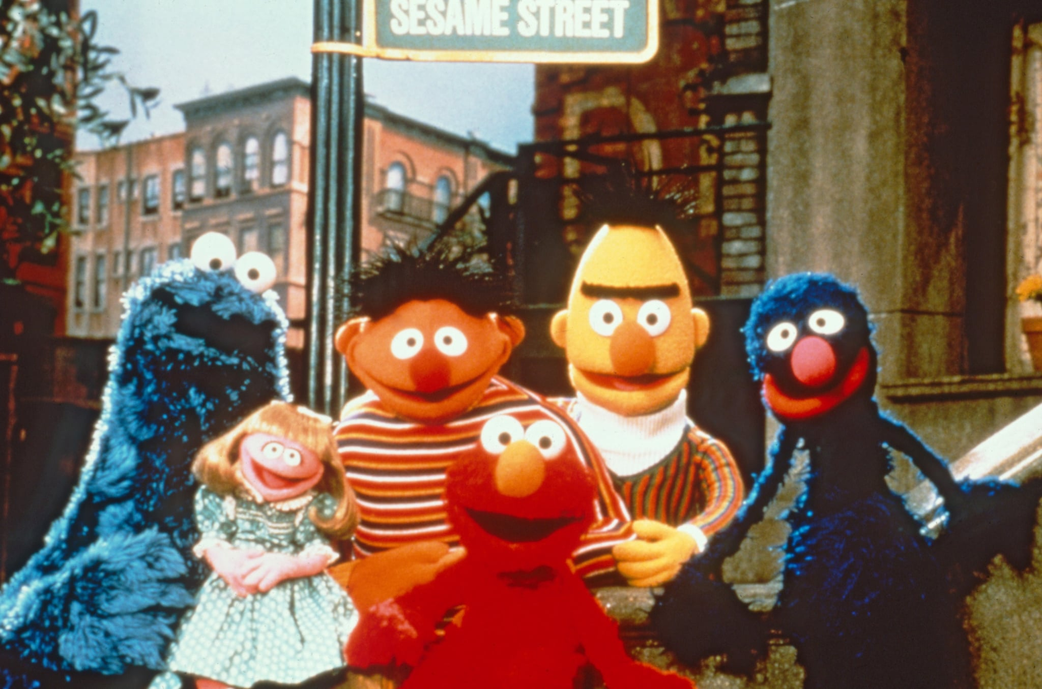 SESAME STREET, from left: Cookie Monster, Prairie Dawn, Ernie, Elmo, Bert, Grover, (premiered July 21, 1969). photo: CTW/Sesame Workshop / Courtesy Everett Collection