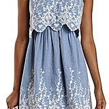 Charlotte Russe Embroidered Chambray Flounce Dress