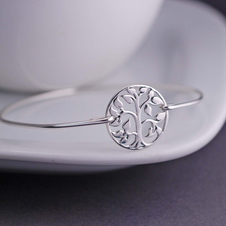 Recycled Sterling Silver Tree Bangle Bracelet