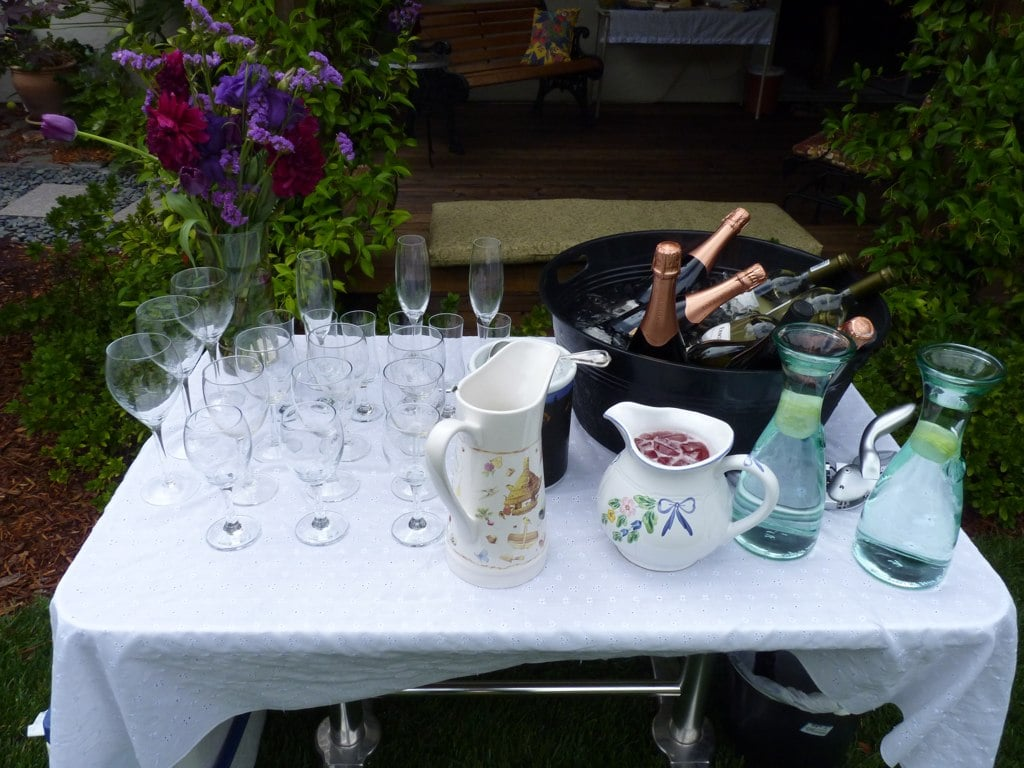 Another station was for the drinks. Glasses, wine, lemonade, and water were laid out for guests to help themselves.