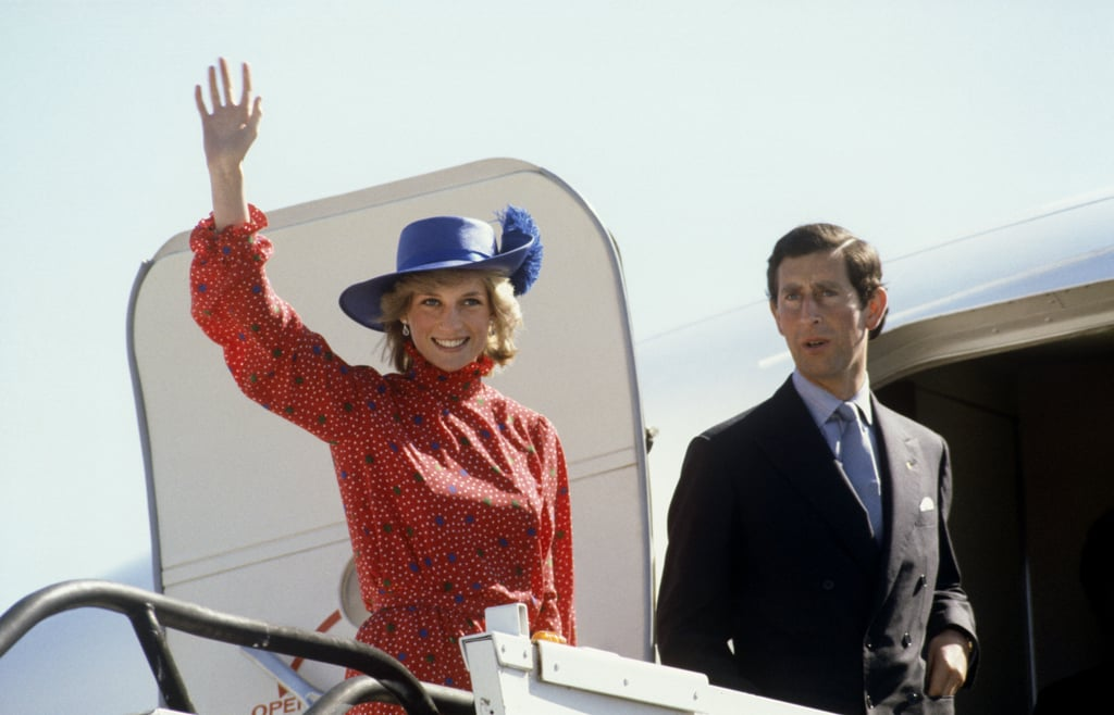 Princess Diana waved to crowds as she boarded a plane with Prince Charles to complete their first royal tour in Australia in 1983.