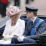 Camilla and William chatted as they rode in a carriage during the Trooping the Colour parade in June 2010.