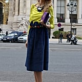This look got a decadent finish with a velvet skirt and feathered heels.