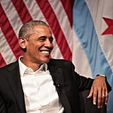 Here he is giving his first speech since leaving office at the University of Chicago.