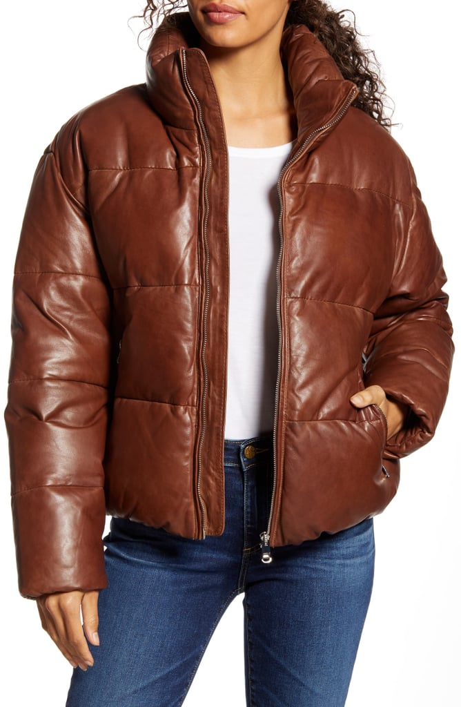 Lamarque Iris Down Insulated Leather Puffer Jacket