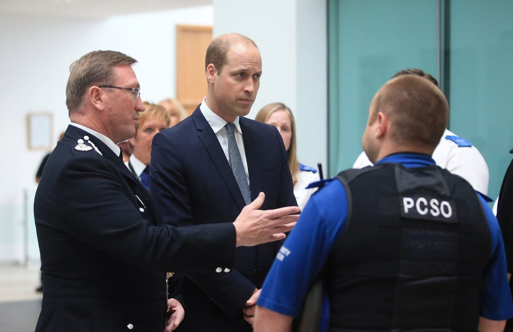 """Prince William stood in solidarity with Manchester on Friday after a terror attack killed 22 people and injured more than 100 others at Ariana Grande's concert on May 22. The royal made a surprise trip to the Greater Manchester Police headquarters to thank the officers for their service. During his visit, he heard heroic stories from the first responders, including 47-year-old police officer Michael Buckley, who was off duty and waiting to meet his daughter Stephanie after the concert. After struggling to get in touch with her by phone, they were eventually reunited the next morning in a nearby hotel. """"She ran to me but I couldn't hold her because I was covered in blood. I told her I have got other peoples' blood all over me,"""" he told People. William also visited the Manchester Cathedral to sign a book of condolences for the victims and their families, writing, """"Manchester's strength and togetherness is an example to the world. My thoughts are with all those affected."""" The royal family has been very hands on following the attack. In addition to encouraging hope and expressing their gratitude for the people's display of """"strength, decency, and community,"""" Queen Elizabeth II also took some time off from her royal duties to meet with the young victims at Royal Manchester Children's Hospital."""