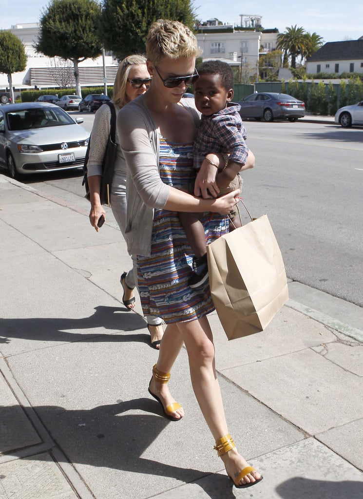 Charlize Theron walked with Jackson Theron in her arms in Beverly Hills.