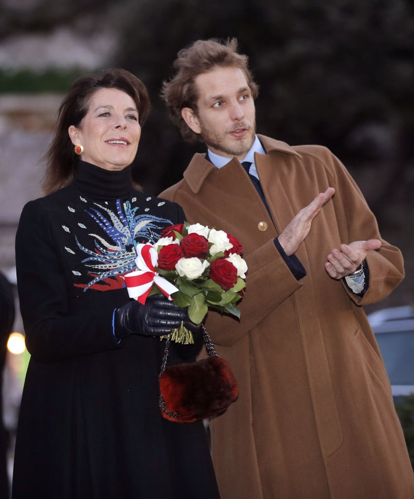 Sporting a beard, Andrea and his mother, Princess Caroline of Hanover, attended the opening of the Christmas village in Monaco in 2012.