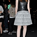 Jessica Chastain showed off a leather peplum top against a tweedy skirt outside of Proenza Schouler's show.