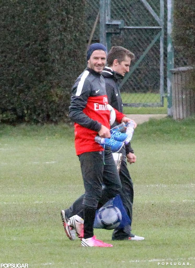 David Beckham reported to his first training session with his new team, Paris Saint-Germain, yesterday in London. It's not David's first stint on the field since quitting the LA Galaxy —he kept his skills sharp by joining London's Arsenal club recently. On Thursday, David officially announced his commitment to Paris Saint-Germain during a press event at the club's Parc des Princes stadium. While he focuses on his comeback to soccer, wife Victoria Beckham is busy with her own work. Victoria touched down at JFK Airport accompanied by daughter Harper. She is in the Big Apple to show her Autumn/Winter 2013 collection during New York Fashion Week.
