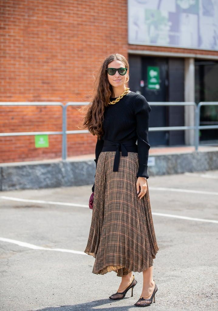 Fall Outfit Idea: Black Sweater + Plaid Skirt + Heels