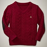 Cableknit V-Neck Sweater For Toddler Boys