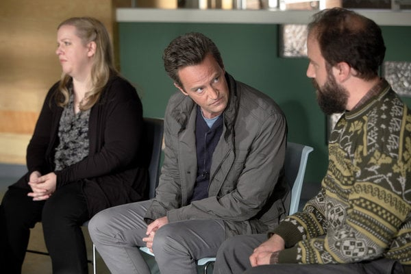 Sarah Baker, Matthew Perry, and Brett Gelman in Go On.