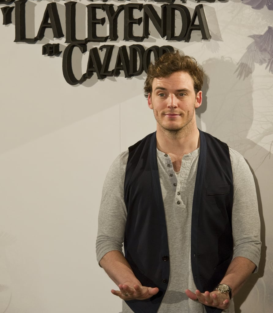 Sam Claflin raised an eyebrow at the Snow White and the Huntsman photocall in Madrid.