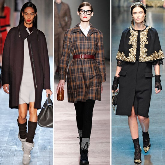 Socks, in its many variations of height and slouchiness, made their way down countless Fall 2012 runways. In effect, proving time and again, that a head-to-toe layered look is a crucial component of the Winter style equation.  From left to right: Victoria Beckham, Marc by Marc Jacobs, Dolce & Gabbana