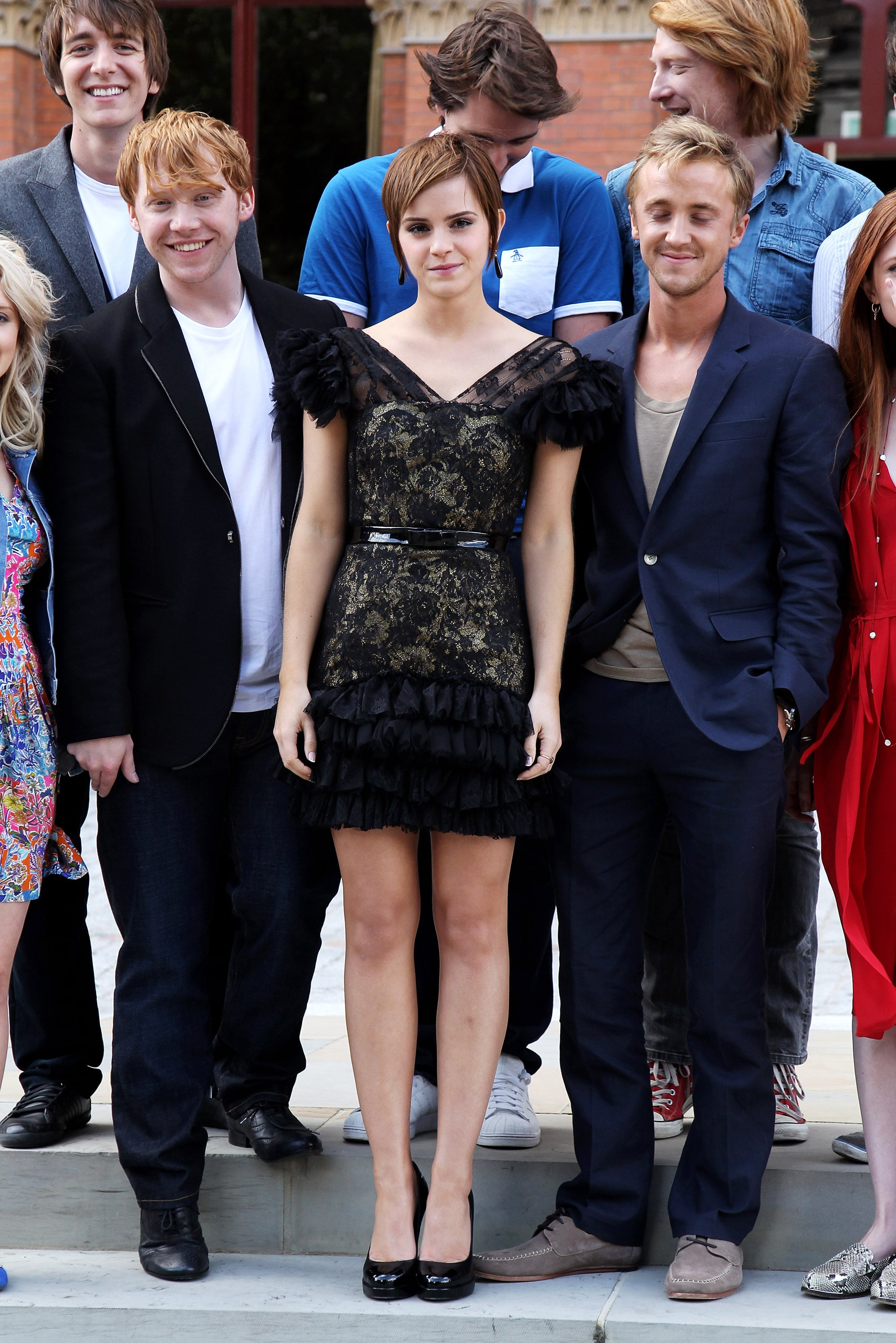 It was all smiles for Emma, Rupert, and Tom.