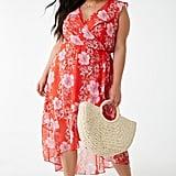 Plus-Size Chiffon Floral Print Dress