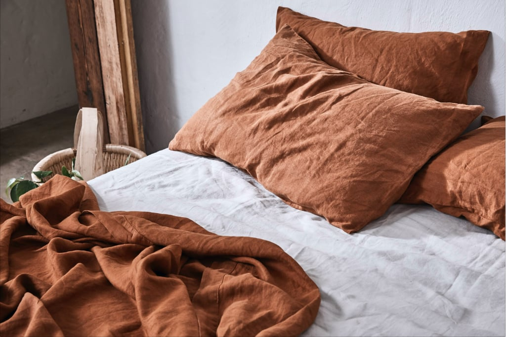 In Bed x Triibe 100% Linen Duvet Set in Tobacco, $340