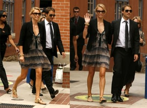 Charlize Theron Attends the 2008 Democratic National Convention in a Cute Print Dress and Black Blazer