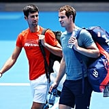 Photos From Andy's Day at the Australian Open Practice Match