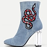 Shein Snake Embroidery Clear Heeled Boots