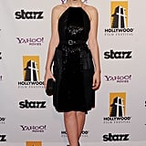 Mulligan chose a sequinned and fringed Bottega Veneta number for the 15th annual Hollywood Film Awards Gala 2011 in Beverly Hills, CA. The blond stunner paired her textured frock with black peep-toe pumps and a studded Bottega Veneta box clutch.
