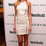 Erin Heatherton wore a short white minidress to the Cinema Society and Men's Health screening of The Lucky One in NYC.