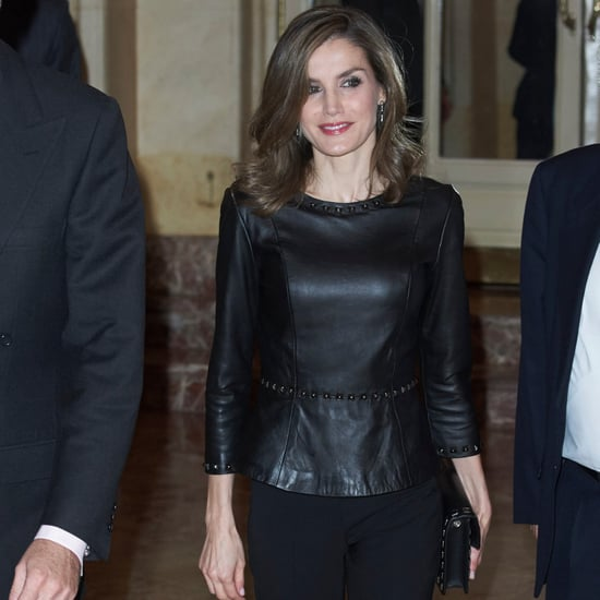 Queen Letizia's Uterqüe Leather Peplum Top November 2016