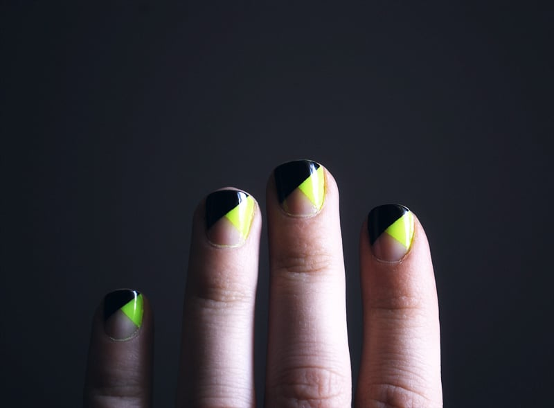 Black, neon, and nude nails.