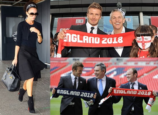 Photos of Victoria Beckham Flying and David Beckham With Wayne Rooney, Gordon Brown, Gary Lineker England's World Cup 2018 Bid