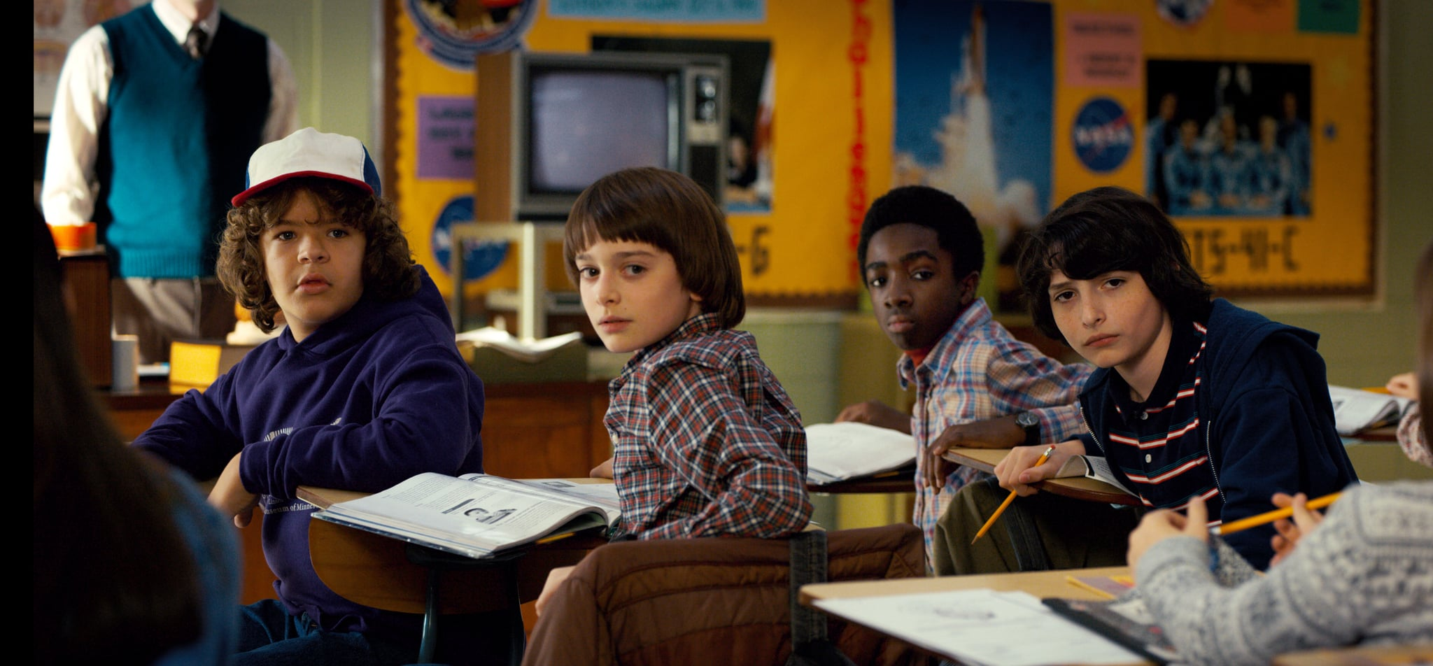 STRANGER THINGS, l-r: Gaten Matarazzo, Noah Schnapp, Caleb McLaughlin, Finn Wolfhard in 'Chapter One: MADMAX' (Season 2, Episode 1, aired October 27, 2017). Netflix/courtesy Everett Collection