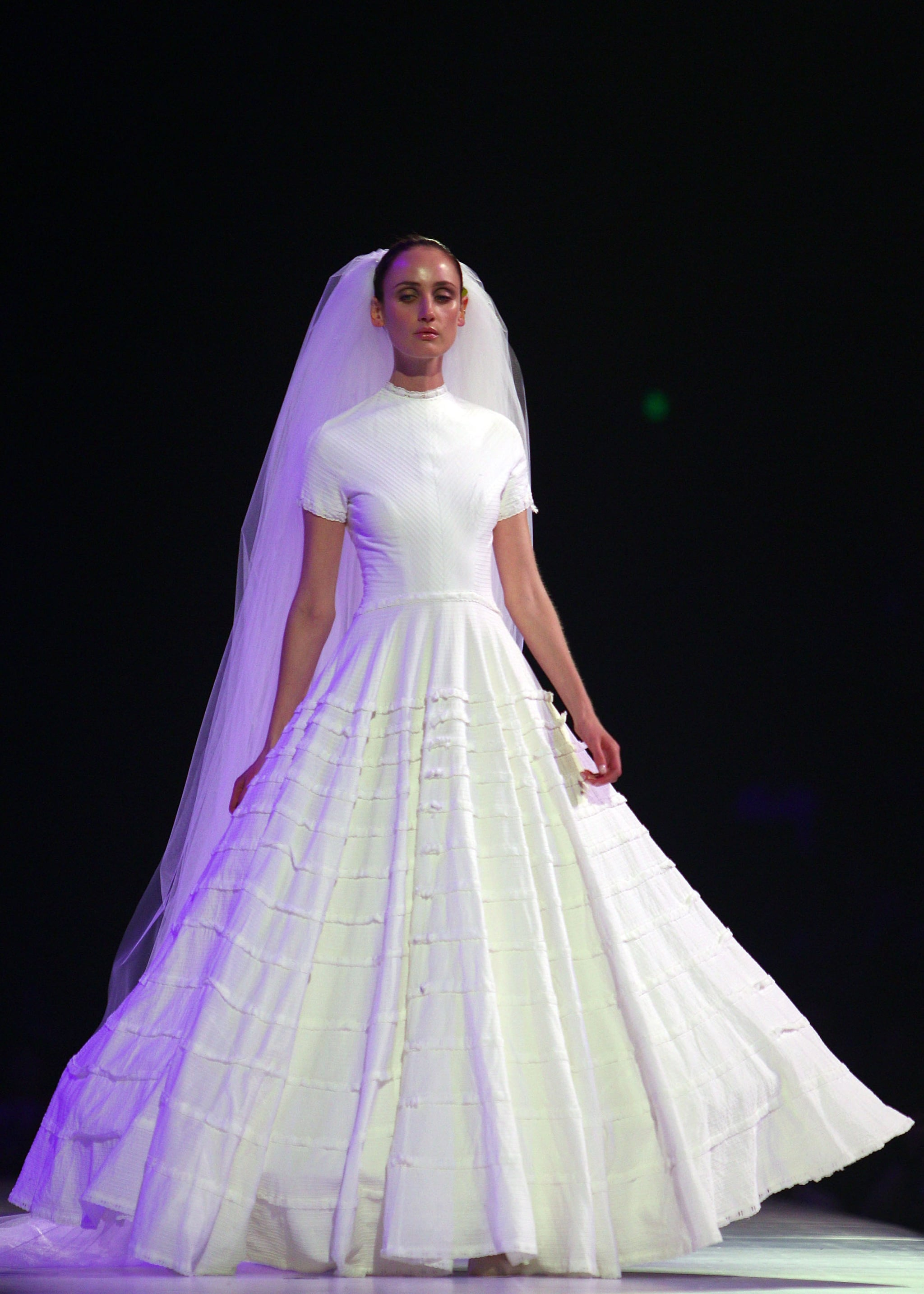 A dress from the Wedding Bells section, part of Fashion Full Stop: Decades of  Australian Fashion and Music show.