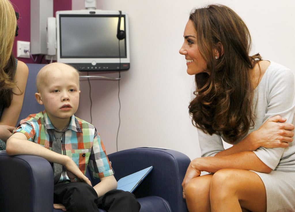 Kate Middleton talked with a little boy.