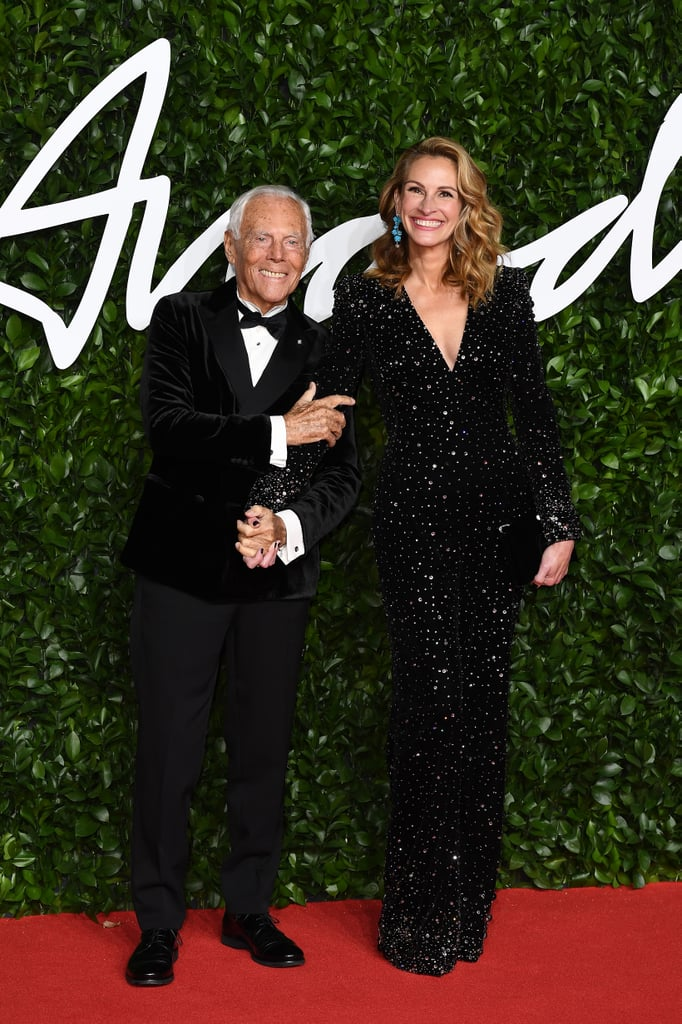 Giorgio Armani and Julia Roberts at the British Fashion Awards 2019