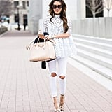 With a Lacy White Shirt and Beige Sandals