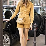 Suede Shorts, a Matching Jumper, and Strappy Sandals