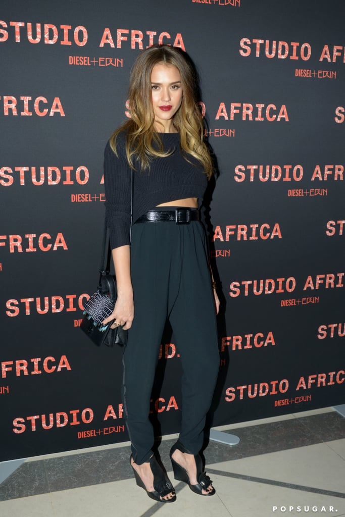 Jessica showed off her sexy side at Diesel's afterparty in a cropped sweater, which she wore with high-waisted trousers and a wide waist belt. This look is perfect for a night out with the girls, and shows just the right amount of skin. Start with Mango's Cropped High-Waist Trousers ($45) and this Topshop's Crop Sweater ($60). Accessorize with this Ann Taylor Grand Leather Belt ($58), French Connection's Nora Sandals ($120), and a sweep of red lipstick.