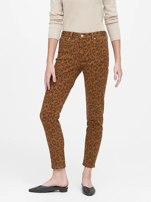 Mid-Rise Skinny Leopard Jeans