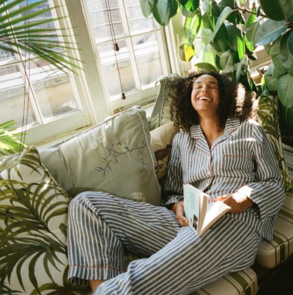 Piglet Midnight Stripe Linen Pyjama Trousers Set