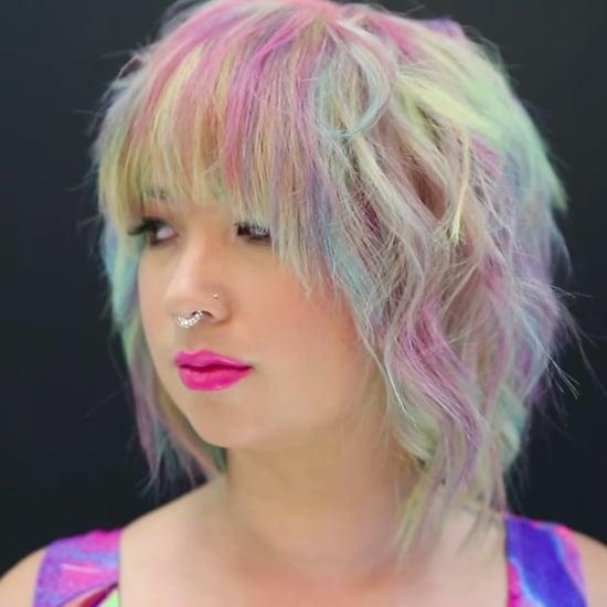 Wasserfarbe Regenbogen-Haare