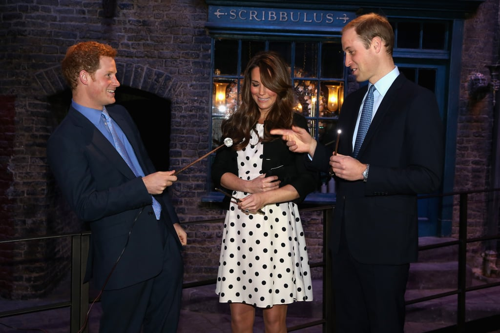 Harry and William joined a pregnant Kate to re-create Harry Potter scenes on the Diagon Alley set during a visit to Warner Bros. Studios in April 2013.