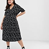 Influence Shirred-Sleeve floral Midi Dress With Button-Down Front in Black