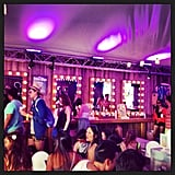 Broadway-style makeup mirrors set the atmosphere for the H&M Coachella tent.