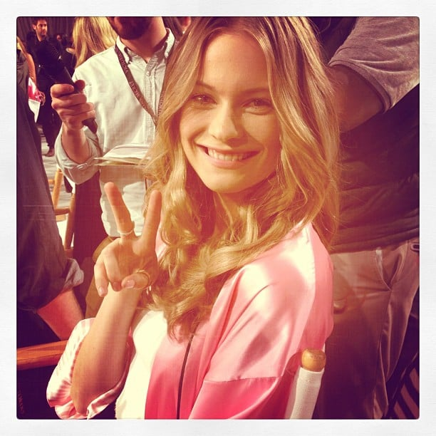 Behati Prinsloo was all smiles before the Victoria's Secret Fashion Show. Source: Instagram user luckymagazine