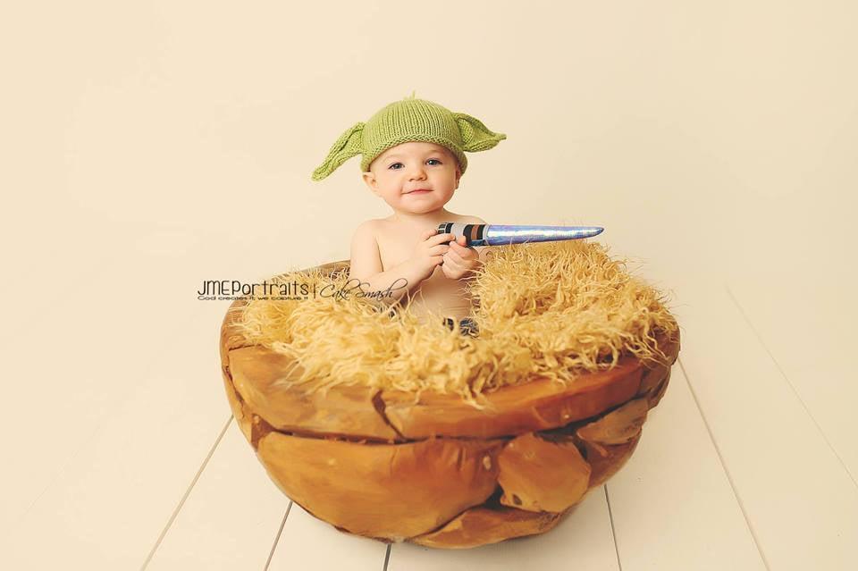 An adorable human version of Yoda
